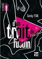 D'un trait de fusain - sur fond noir, des silhouettes comme dessinées à la craie et un triangle rose, symbole d'Act Up