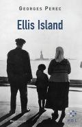 Couverture d'Ellis Island. Photo en noir et blanc d'une femme portant un foulard, un homme et un enfant portant des bérets, de dos, regardant la Statue de la Liberté de l'autre côté de l'eau.